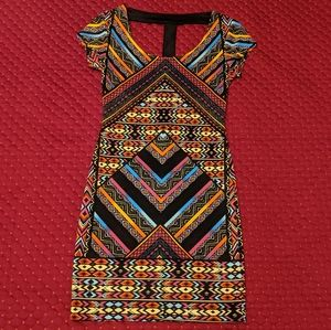 Multi-color Patterned Bodycon Dress